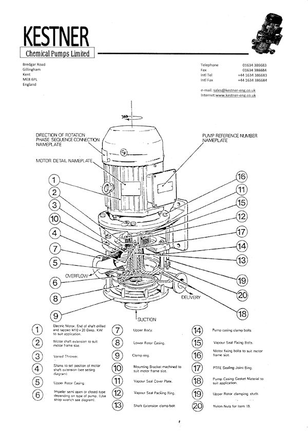 MJ pump spares identification chart